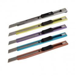 Нож канцелярский 9мм фиксатор металлический усиленный Deli SK-5 Е2066 ассорти 5 видов