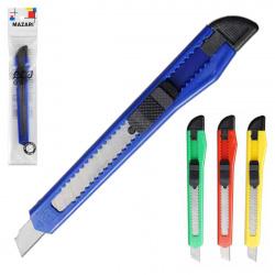 Нож канцелярский 10мм фиксатор Mazari M-6302 европодвес ассорти 4 вида