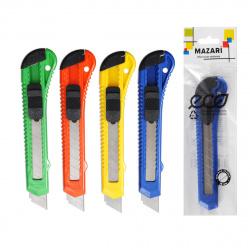 Нож канцелярский 18мм фиксатор Mazari M-6303 европодвес