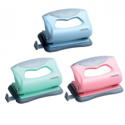 Дырокол на 10л пластиковый с линейкой deVENTE Pastel 4020900 ассорти 3 вида