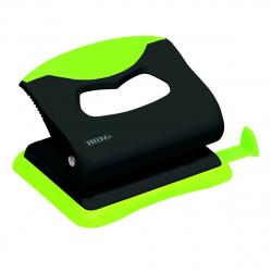 Дырокол на 20л пластиковый с линейкой deVENTE Monochrome 4020004 черный с неоновым зеленым