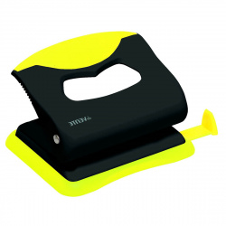 Дырокол на 20л пластиковый с линейкой deVENTE Monochrome 4020006 черный с неоновым желтый