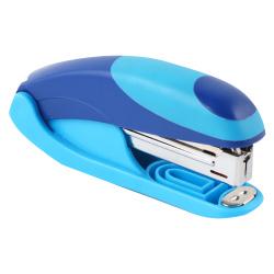 Степлер №10, до 15 листов, корпус пластиковый, антистеплер, резиновые вставки, цвет голубой OMAX  Eagle S5151B/сн-глб
