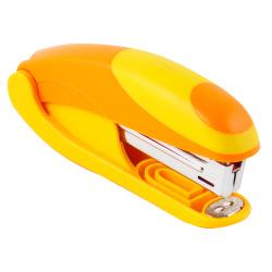 Степлер №10, до 15 листов, корпус пластиковый, антистеплер, резиновые вставки, цвет желтый OMAX  Eagle S5151B/жлт-ор