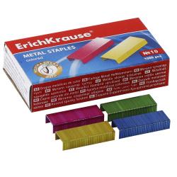 Скобы для степлера №10 1000шт Erich Krause 7140 цветные