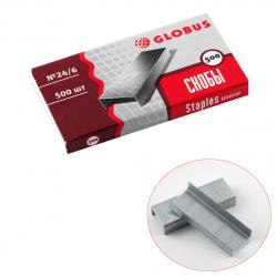 Скобы для степлера №24/6 500шт Globus C24/6-500 оцинкованные