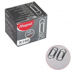 Скрепки 25мм 100шт никелированные прямоугольные Maped High Quality 032020 картонная коробка
