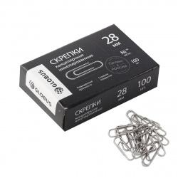 Скрепки 28мм 100шт никелированные овальные Globus Quality С28-100НЧ картонная коробка