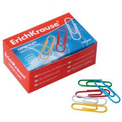 Скрепки 28мм 100шт цветные металлические овальные Erich Krause 24871 картонная коробка