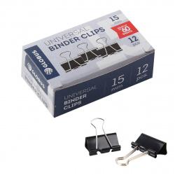 Зажимы для бумаг 15мм черные набор 12шт Globus ЗБ-15ЧКК картонная коробка