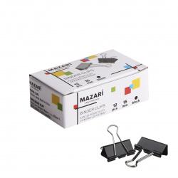 Зажимы для бумаг 15мм черные набор 12шт Mazari M-6894 картонная коробка