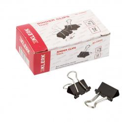 Зажимы для бумаг 15мм черные набор 12шт KLERK 209422 картонная коробка