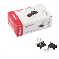 Зажимы для бумаг 19мм черные набор 12шт KLERK 209423 картонная коробка