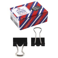 Зажимы для бумаг 19мм черные набор 12шт Attomex 4131301 картонная коробка