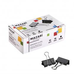 Зажимы для бумаг 19мм черные набор 12шт Mazari M-6895 картонная коробка