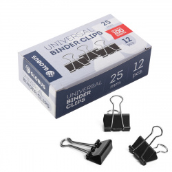 Зажимы для бумаг 25мм черные набор 12шт Globus Quality ЗБ-25ЧК картонная коробка