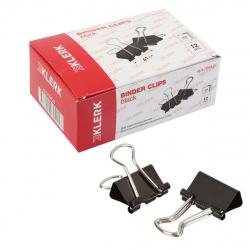 Зажимы для бумаг 41мм черные набор 12шт KLERK 209426 картонная коробка