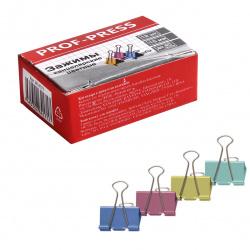 Зажимы для бумаг 15мм цветные набор 12шт Проф-Пресс ЗК-4171 картонная коробка