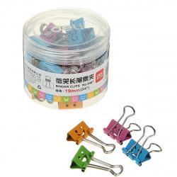 Зажимы для бумаг 19мм цветные набор 40шт Deli smile 8487 пластиковая упаковка