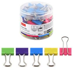 Зажимы для бумаг 19мм, набор 40шт, цвет ассорти, пластиковый бокс Неон Hatber BC_067771