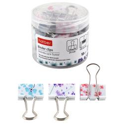 Зажимы для бумаг 25мм цветные набор 18шт Hatber Flores BC_059176 пластиковая упаковка