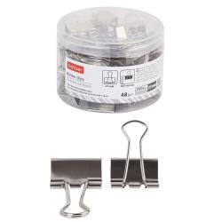 Зажимы для бумаг 25мм серебряные набор 48шт Hatber BC_059165 пластиковая упаковка