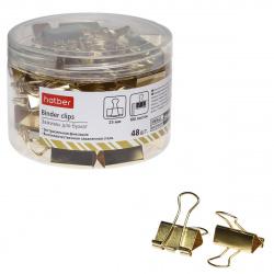 Зажимы для бумаг 25мм золотые набор 48шт Hatber BC_059175 пластиковая упаковка