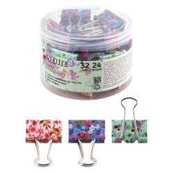 Зажимы для бумаг 32мм, набор 24шт, цвет ассорти, пластиковый тубус Flowers deVENTE 4131011