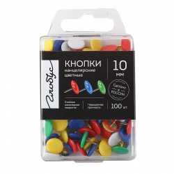 Кнопки канцелярские, гвоздики, диаметр 10мм, 100шт, сталь, цвет ассорти, пластиковый бокс, европодвес Globus K10-100Ц