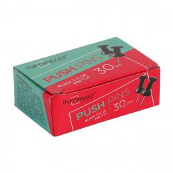 Кнопки силовые 30шт 8мм inФОРМАТ KGB-30K черные картонная коробка