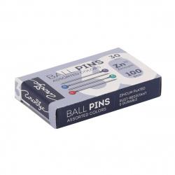 Булавки офисные, длина иглы 30мм, 100шт, металл, цвет ассорти, картонная коробка Globus БК30-100Ц