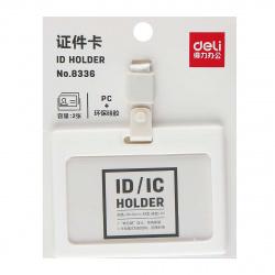 Бейдж горизонтальный 54*90мм на белой ленте с клипом Deli Soft Touch 8336