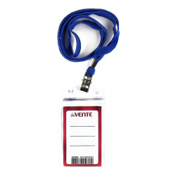 Бейдж вертикальный 63*105мм прозрачный на синей ленте с металлическим клипом deVENTE 4010902