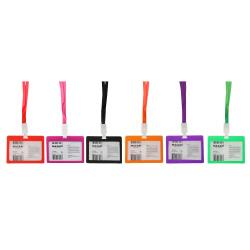 Бейдж горизонтальный 75*103мм на цветной ленте с пластиковым клипом Mazari M-5696