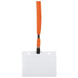 Бейдж горизонтальный 87*120мм на оранжевой ленте с металлическим клипом ДПС1065.ГК-111