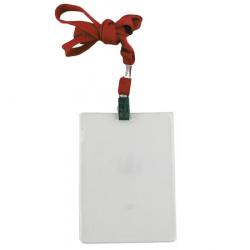 Бейдж бейдж вертикальный, 87*120мм, пластик, клип, тесьма, красный ДПС 1065.ВК-102