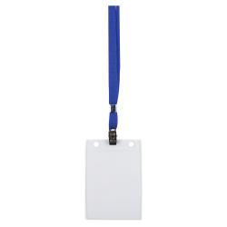 Бейдж вертикальный, 87*120мм, пластик, клип, тесьма, синий ДПС 1065.ВК-101
