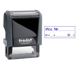 "Штамп стандартный ""ИСХОД №, ДАТА"" оттиск 38*14мм TRODAT Printy  4911/DB/L 3.4"