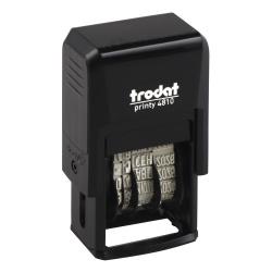 Датер-мини месяц буквами русский 20*4мм цвет оттиска синий TRODAT PRINTY 4810 подушка в комплекте корпус черный