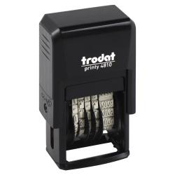 Датер-мини месяц цифрами 20*4мм цвет оттиска синий TRODAT PRINTY 4810В подушка в комплекте корпус черный