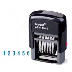 Нумератор 6-разрядный 25*4мм цвет оттиска синий TRODAT 4846 подушка в комплекте корпус черный