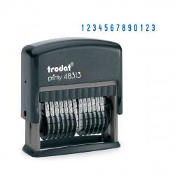 Нумератор 13-разрядный 42*3,8мм цвет оттиска синий TRODAT 48313 подушка в комплекте корпус черный