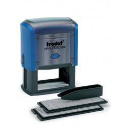 Штамп самонаборный 7-строчный 60*33мм цвет оттиска синий без рамки, кассы в комплекте TRODAT TYPO/DB11 4928 корпус синий