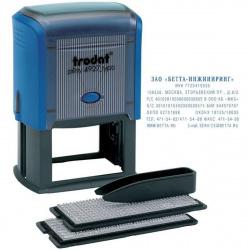 Штамп самонаборный 8-строчный 60*40мм цвет оттиска синий без рамки, кассы в комплекте TRODAT TYPO/DB11 4927 корпус синий