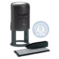 Печать самонаборная 2 круга d-45мм цвет оттиска синий, касса, крышка в комплекте TRODAT TYPO R2 46045/DB корпус черный