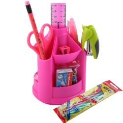 Канцелярский набор 13пр Erich Krause Mini Desk Neon Solid 53227 вращающийся розовый