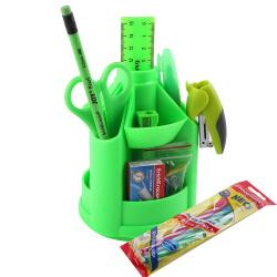 Канцелярский набор 13пр Erich Krause Mini Desk Neon Solid 53228 вращающийся зеленый