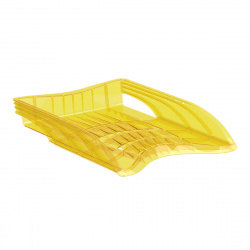 Лоток для бумаг горизонтальный Erich Krause S-Wing Neon 51507 желтый