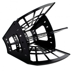 Лоток для бумаг веерный 3-х секционный Стамм Эконом ЛТ410 черный