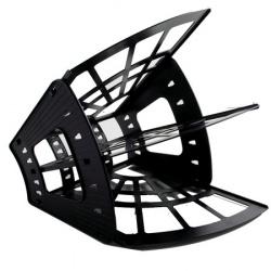 Лоток для бумаг веерный 4-х секционный Стамм Эконом ЛТ412 черный